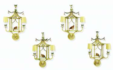 A SET OF FOUR TOLE-PEINTE TWIN-LIGHT WALL APPLIQUES