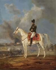 Napoleon on the evening of April 23, 1809 in front of the burning city of Regensburg