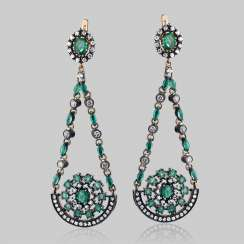 Earrings pendants made of gold with natural emeralds and diamonds