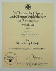 Eisenes Cross, 1939, 1. Class certificate for a Sergeant of the 6./ I. R. 331 - Karl von Oven.