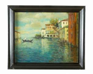 Italian Artist around 1920, Villas by the sea, Oil on Canvas, framed