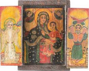 LARGE COPTIC TRIPTYCH WITH THE MOTHER OF GOD AND TWO HOLY