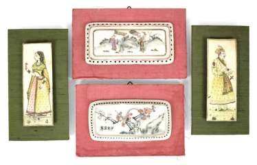 Two miniature paintings, and two porcelain plaques