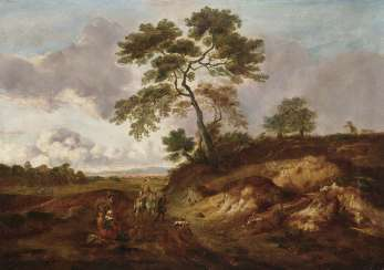 Landscape with rider and locking farmers