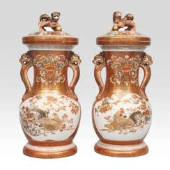 Pair of Kutani vases with fine bird painting