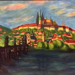 Harry Herre: view of Prague with Vltava river, Charles bridge and St. Vitus Cathedral, around 1970, in the context, very well.