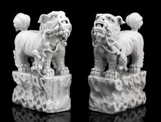 Pair of 'Blanc de Chine'-lions on pedestals with rock structure