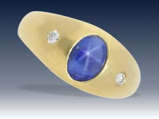 Rings: vintage and classic band ring with a precious, untreated Ceylon star sapphire and 2 small old European cut diamonds, 18K Gold