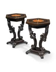 A PAIR OF CEYLONESE SPECIMEN-WOOD AND BONE-INLAID EBONY HEXAGONAL SIDE TABLES