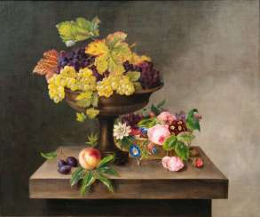 Still life with a flower head and fruits in a bowl