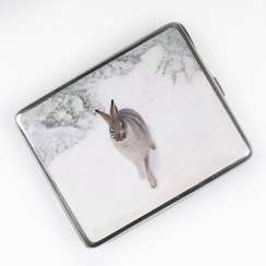 Cigarette case with enamel painting