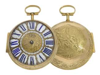 Pocket watch: extremely rare, early einzeigrige Oignon with a solid gold case with representation of relief, Balthazar Martinot II. a Paris, CA. 1700