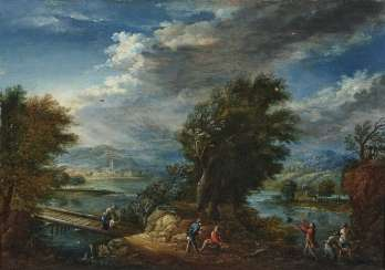 River landscapes with figure staffage