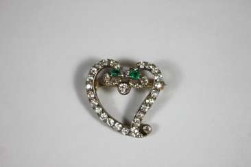 Antique brooch in the shape of a heart, the fine work of the 19th century. Century