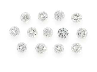 Brilliant: collection of 13 of the finest diamonds of top quality, approx 1,39 ct