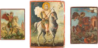 THREE ICONS WITH THE TAB ST. GEORGE, MENAS, AND DEMETRIOS