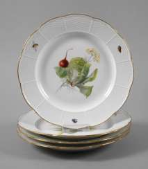 Meissen four dining plates with vegetables painting