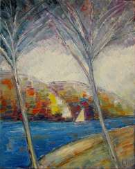 Landscape with a sailboat