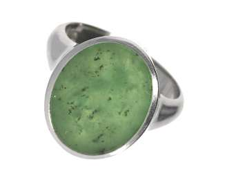 Ring: high quality vintage gold wrought ring with Russian Jade, handmade in 18K white gold