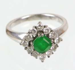 Emerald Diamond Ring - White Gold 585