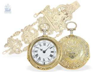Pocket watch: magnificent English double case-Spindeluhr with Repetition and Chatelaine, Francis Gregg, London No. 6226, London 1691-1747