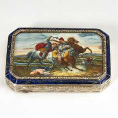 Silver box with enamel painting