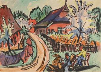 Village street in Nida with flowering trees and working peasant couple, 1919
