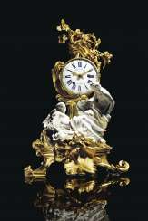 A LOUIS XV ORMOLU AND VINCENNES PORCELAIN MANTEL CLOCK