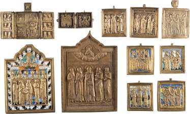 TWO SMALL SIGNED ICONS WITH SAINTS, DIPTYCH, TRIPTYCH AND SIX ICONS WITH SAINTS