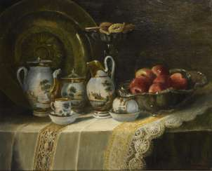 Still life with a Biedermeier service and apples