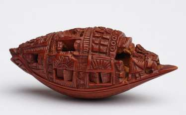 ZHAN GUSHENG: MINIATURE WORK OF COVERED BOAT WITH PASSENGERS AND LONG POEM