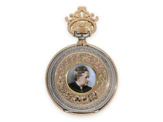 Pocket watch: unique Renaissance pomp savonnette with enamel painting and unique housing and factory decoration, Carl Naab made between 1894-1904, students of the German school of watchmaking Glashütte in 1880-1882,