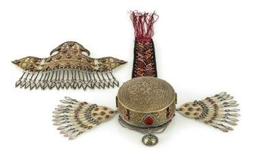 Forehead diadem and unusual closed silver cap, partly gold-plated, with stones