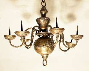 Chandelier, 6 branches, chased copper , silvered, Austrian 18. century