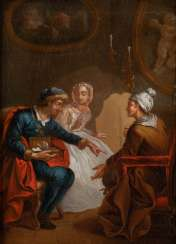 PAIR OF PAINTINGS: AT THE NOTARY/VISIT FROM THE HOUSE DOCTOR