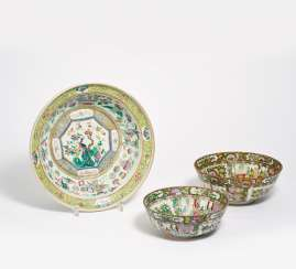 Large washbasin and two canton bowls