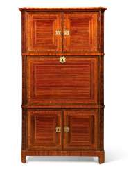 A LOUIS XVI TULIPWOOD CROSSBANDED, AMARANTH AND BOISE SATINE TALL SECRETAIRE A ABATTANT