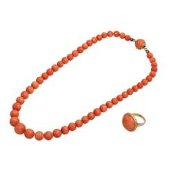 2-piece jewelry set with salmon-colored, white-mottled coral