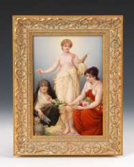 Porcelain painting: The three fates.