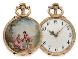 Pocket watch: a beautiful miniature Gold/enamel watch with Rococo enamel painting in the Watteau style, Maurice Ditisheim, La Chaux-de-Fonds, No. 113626, CA. 1890