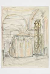 Drawing depicting the interior of a seventeenth-century church