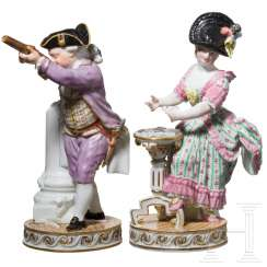 Two gallant porcelain figures, Marcollini, the card player and the shooter, Meissen, 19th century