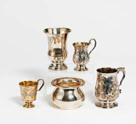 4 cups & small vase