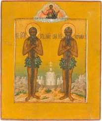 ICON WITH THE HERMIT, PETER OF ATHOS AND ONOPHRIUS