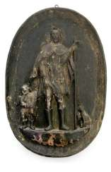 WOOD RELIEF OF A SAINT WITH
