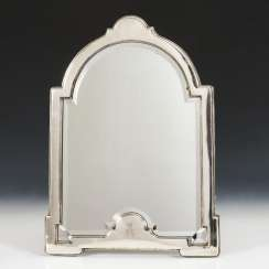 Large table mirror in a silver frame