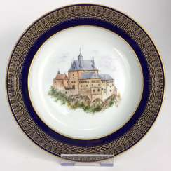 Special views-plate: Meissen porcelain, gold rim, Form T-smooth, view, Kriebstein castle, 1900, very good, one of a kind