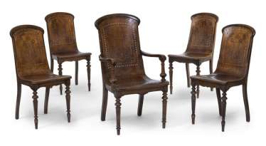 Set of four chairs and an armchair