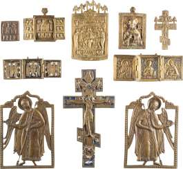 A DATED ICON, THREE TRIPTYCHA, TWO CROSSES AND FOUR BRONZE ICONS WITH DEESIS, CHRIST-REPRESENTATIONS AND ARCHANGELS MICHAEL AND GABRIEL