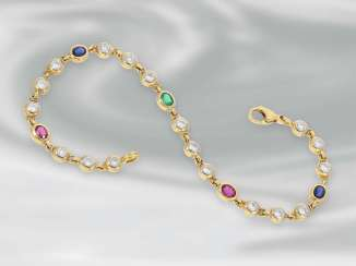 Bracelet: a fine gold bracelet with emerald-, ruby-, sapphire - and diamond trimming, approx. 3,13 ct, 18K white Gold, unworn